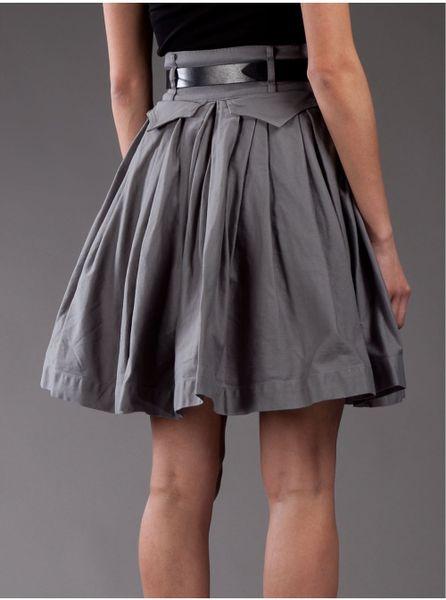 preen by thornton bregazzi pleated skirt in gray grey lyst