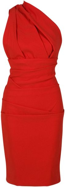 Preen By Thorton Bregazzi Plaza One Shoulder Dress in Red (blue)