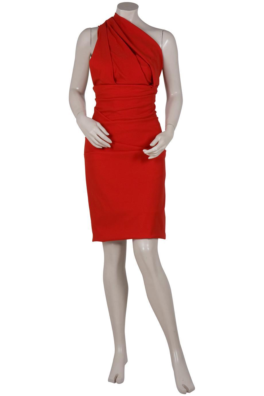 Preen By Thornton Bregazzi Plaza One Shoulder Dress In Red
