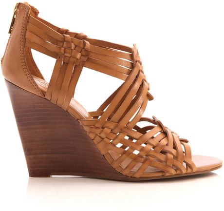 Tory Burch Strappy Open Toe Wedges In Brown Tan Lyst