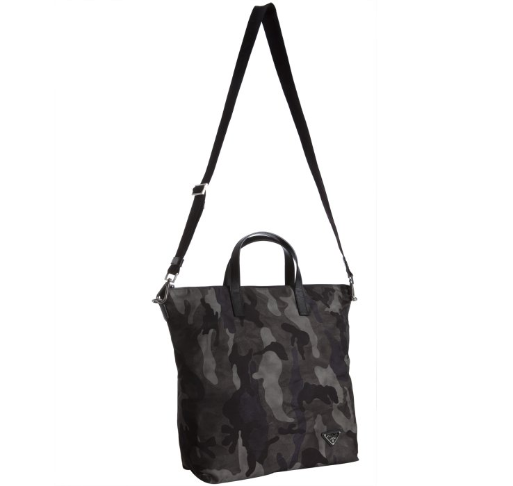 Prada Smoke Camouflage Nylon and Leather Travel Tote in Gray for ...