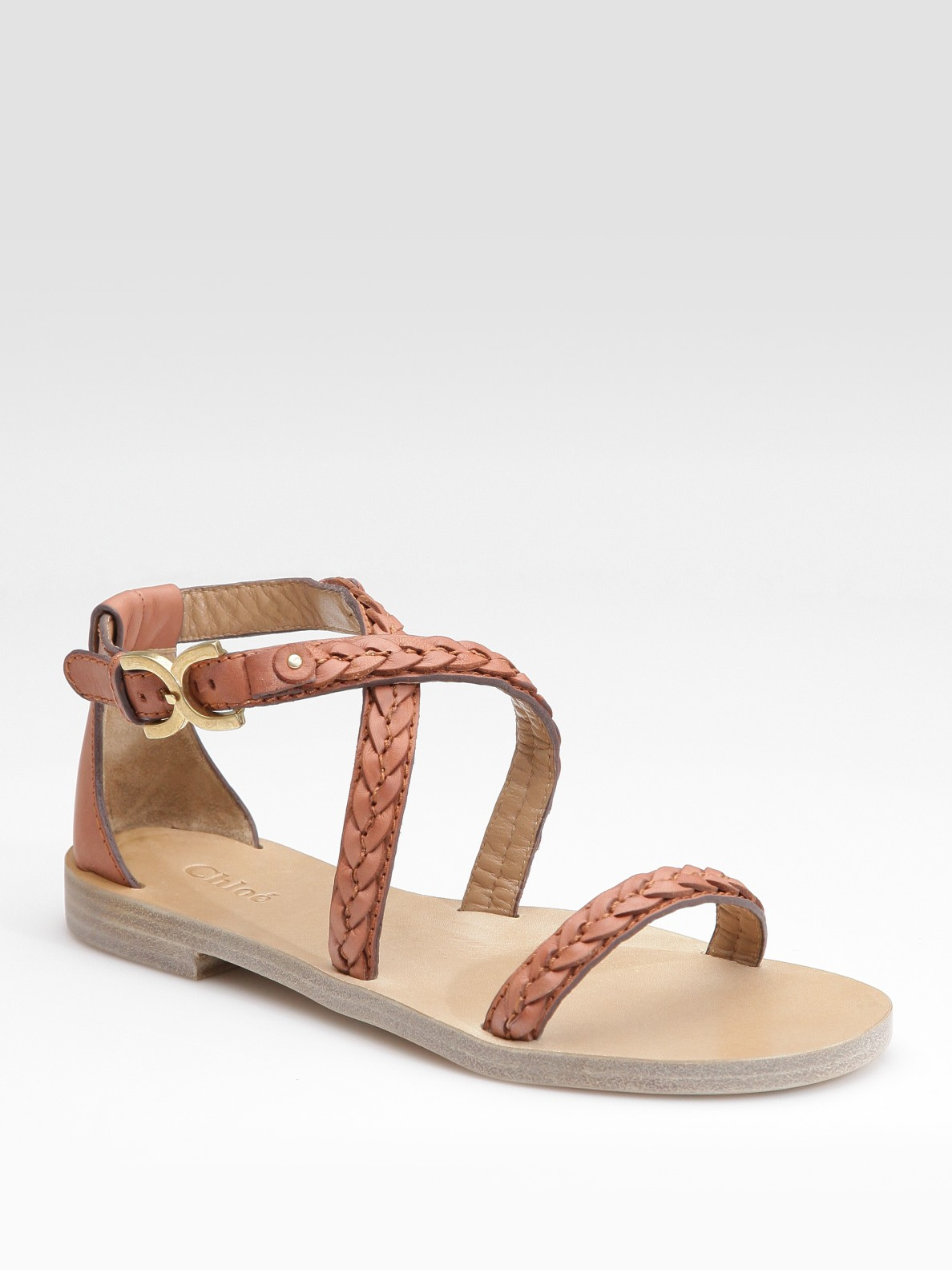 dfcd3a4f5d53 Lyst - Chloé Braided Leather Flat Sandals in Brown