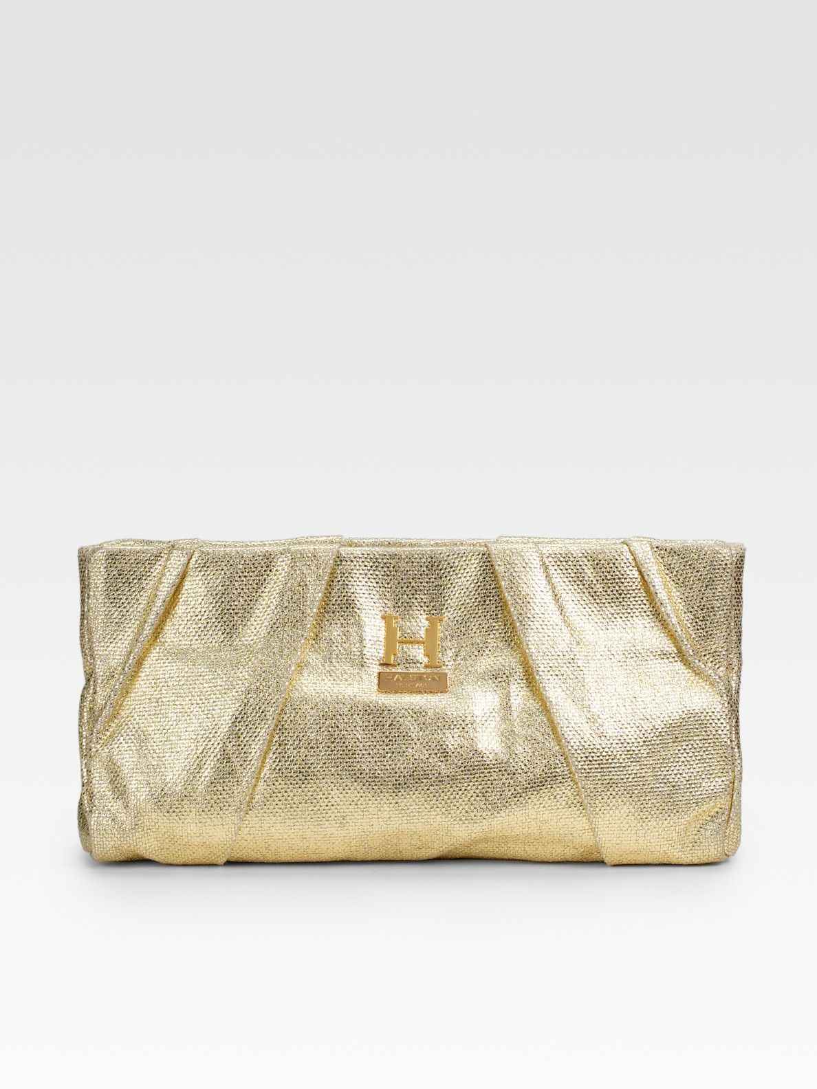Lyst - Halston Alice Pleated Metallic Canvas Big Clutch in Metallic c7dbc54765d23