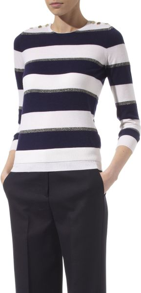 Joseph Sailor Striped Cashmere Sweater in Blue (navy)