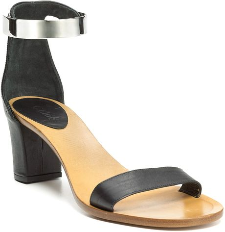 Chloé Metal Ankle Strap Sandals in Black