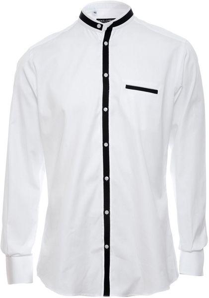 Dolce gabbana collarless shirt in white for men lyst for Collarless white shirt slim fit