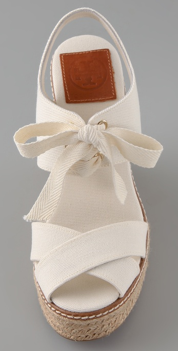 Tory Burch Lace Up Wedge Espadrilles In White Lyst
