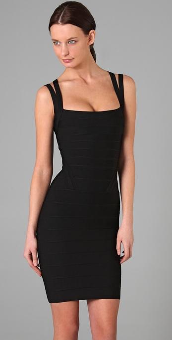 Hervé léger Knee Length Square Neck Dress in Black - Lyst