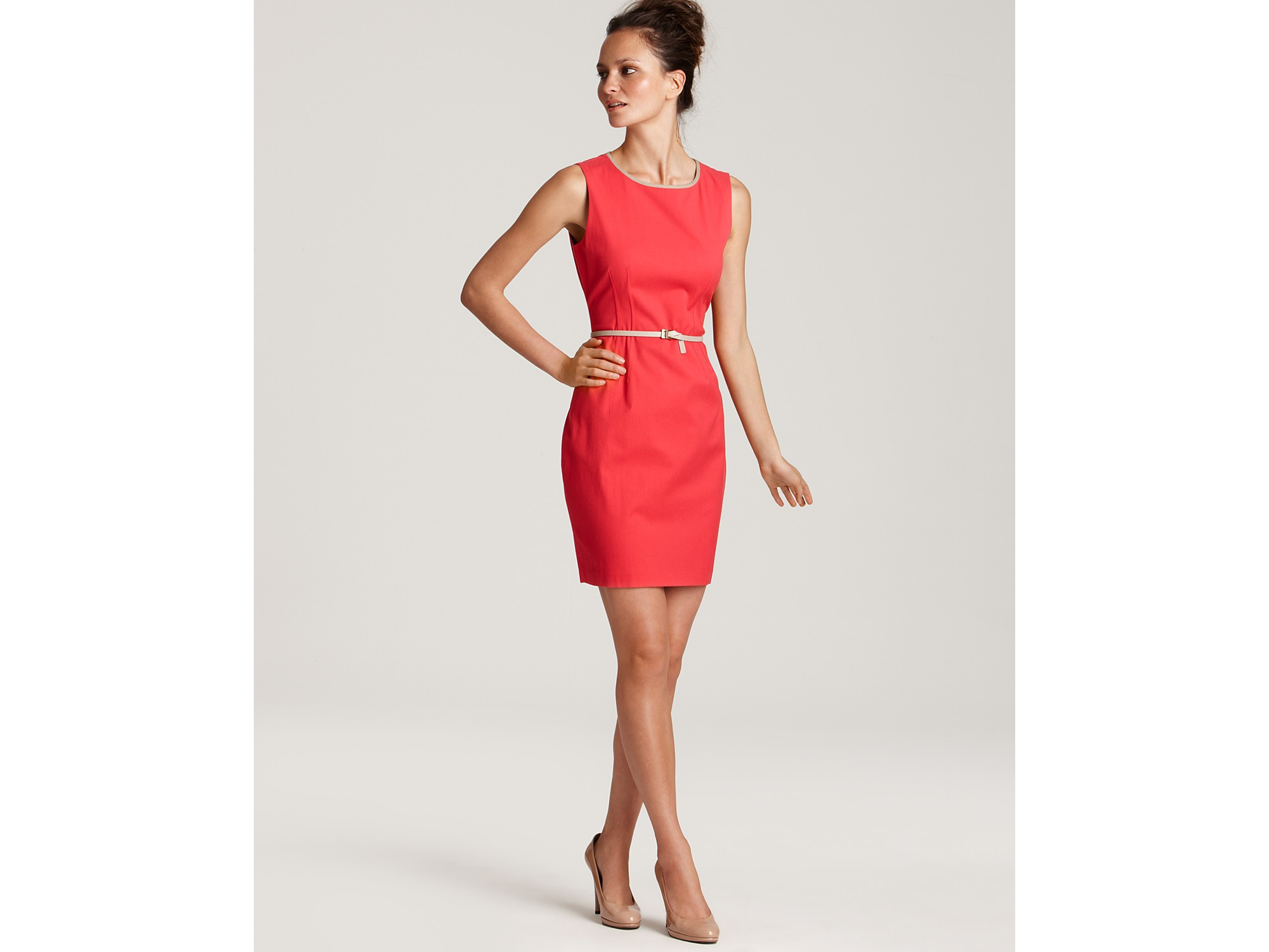 elie tahari emory cotton canvas belted sheath dress in