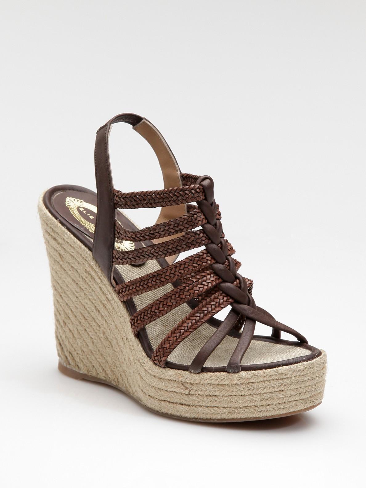Elie Tahari Strappy Espadrille Wedge Sandals In Brown Lyst