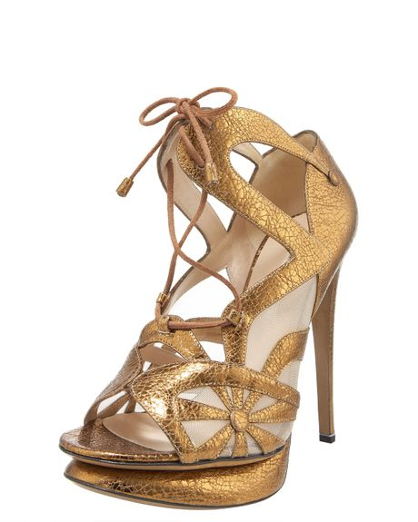 Nicholas Kirkwood Glitterfinished Leather Sandals in Gold