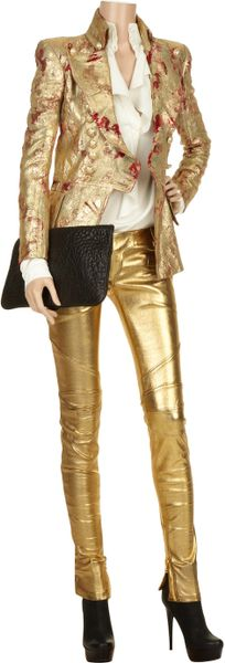 Balmain Gold Geometric Jacquard Blazer In Gold Lyst
