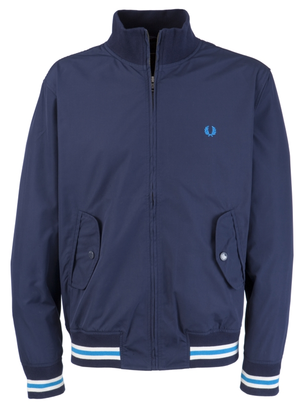 Fred Perry Microfibre Tipped Blouson Jacket Carbon Blue for Men