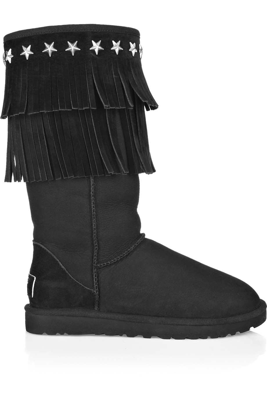 Jimmy Choo Sora Fringed Suede Boots in Black
