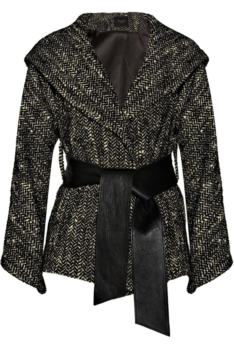 Smythe Hooded Wool Blend Tweed Coat In Black Lyst