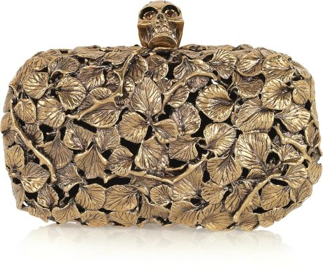 Alexander Mcqueen Engraved Leaf and Thorn Box Clutch in Gold