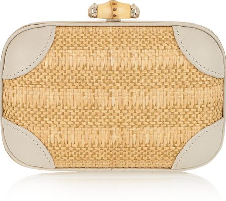 Gucci Broadway Raffia and Leather Clutch in Gold (gray)