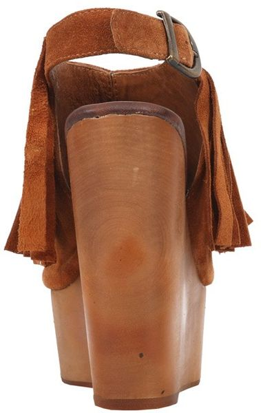 Jeffrey Campbell Snick Fringe Wedge In Brown Tan Lyst