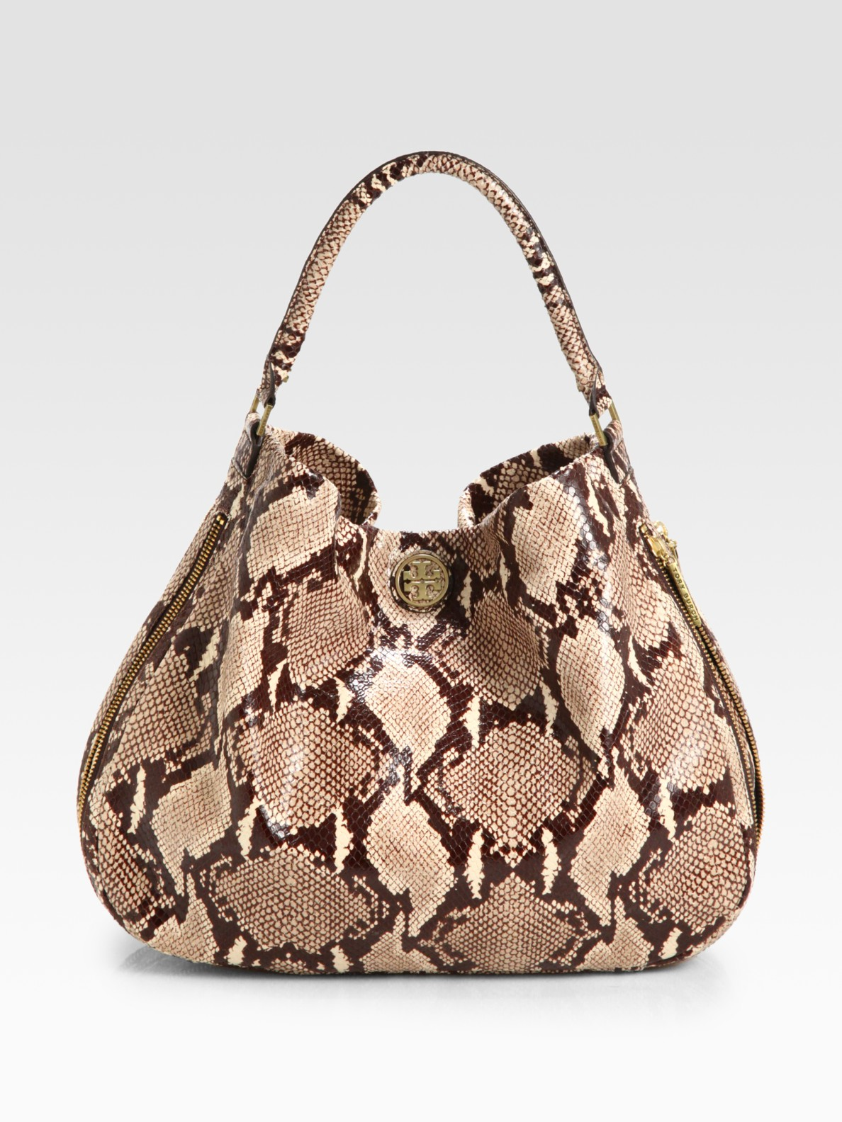 9b427f3ac1a3 ... authentic lyst tory burch kellan python print leather hobo in natural  72d09 9d242