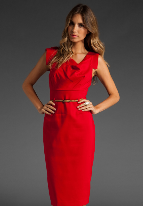 Jackie o black dress and red