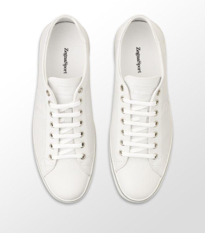4214d630 Ermenegildo Zegna White Freddie Perforated Leather Sneaker for men