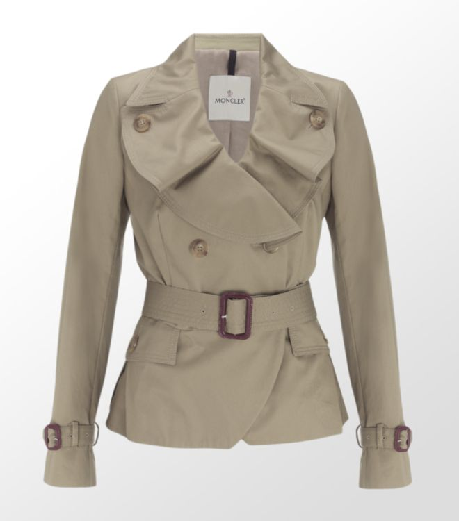 Moncler Short Trench Coat in Natural | Lyst