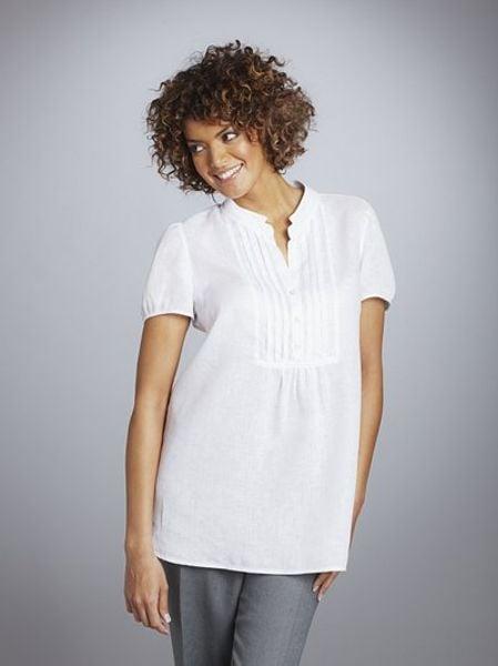 White Linen Tunic Blouse 88