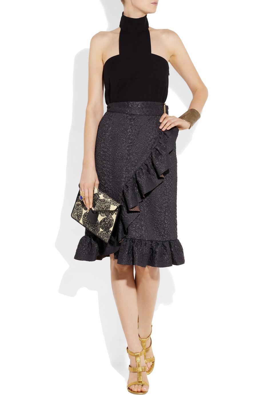 belle de jour bag - Saint laurent Leather-trimmed Printed Woven Clutch in Black | Lyst