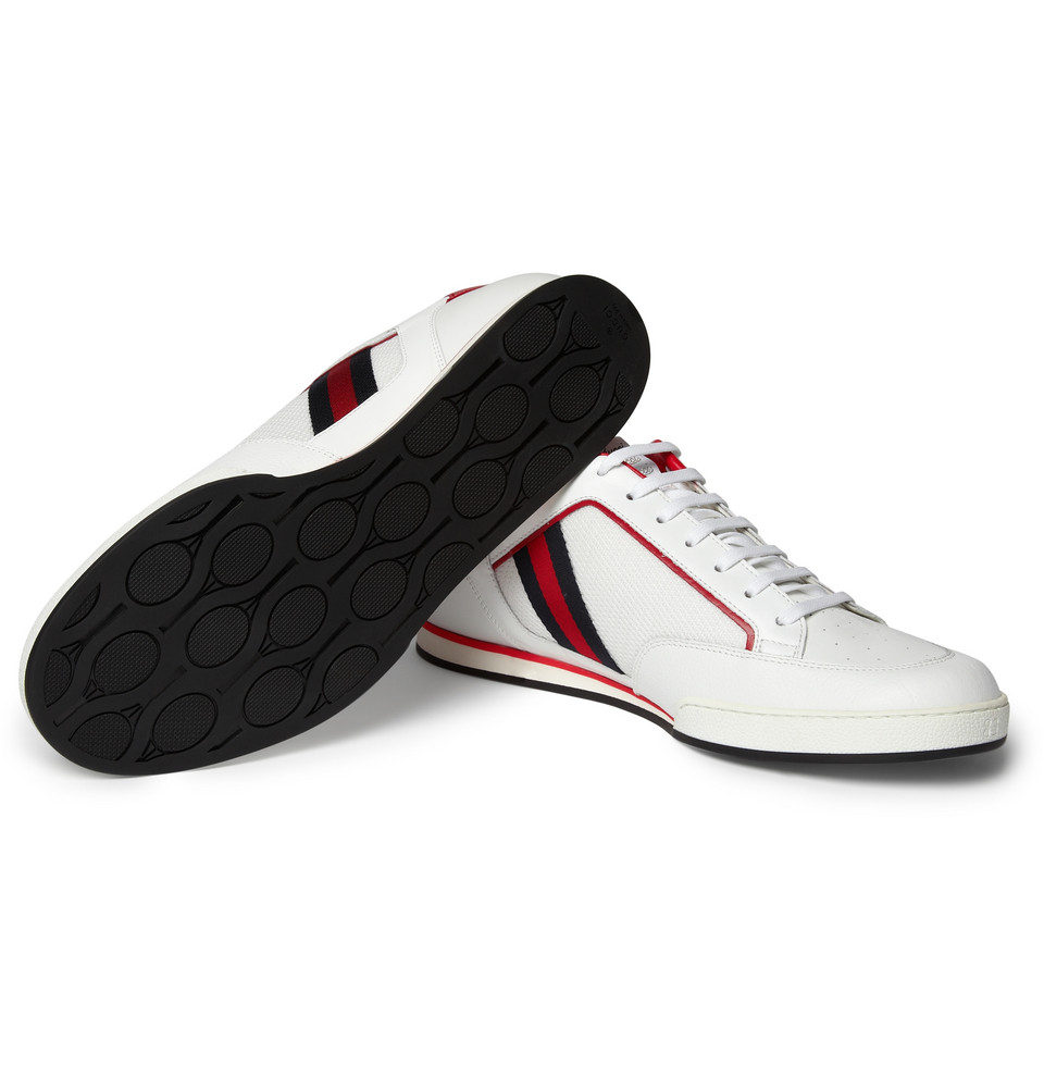 gucci leather tennis shoes in white for lyst
