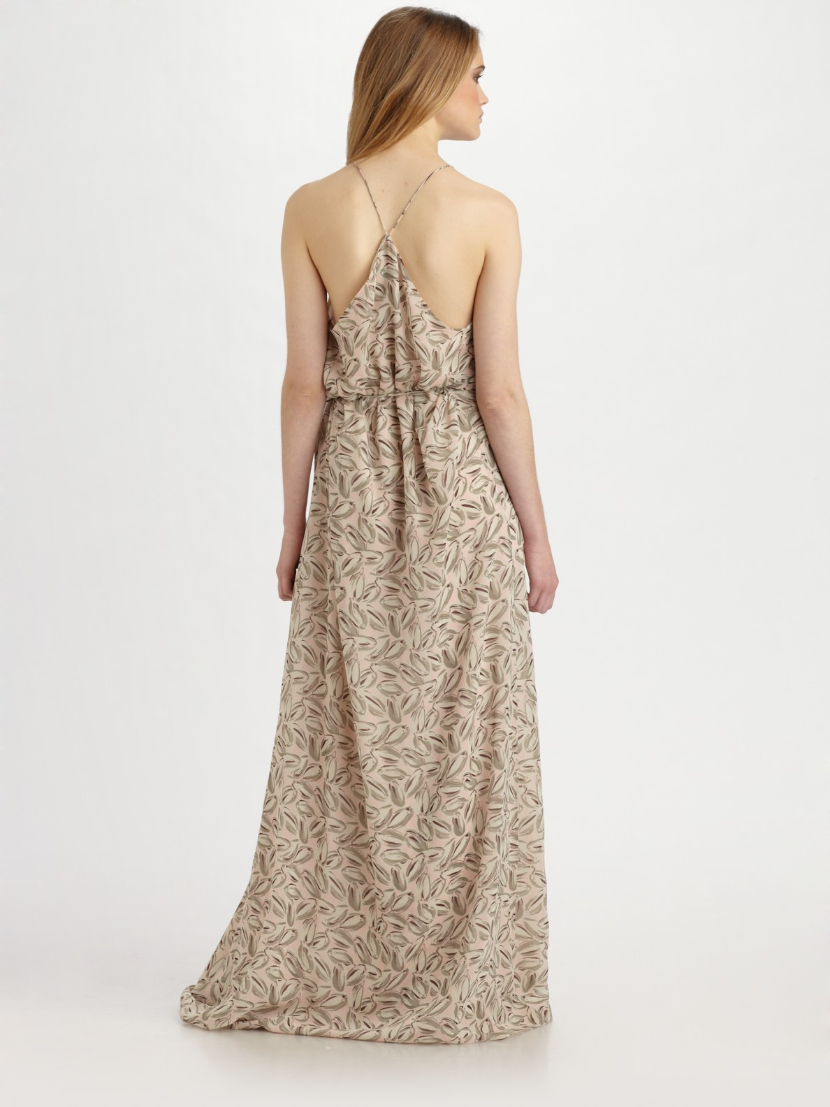 Theory Brynia Printed Silk Georgette Maxi Dress in Natural | Lyst
