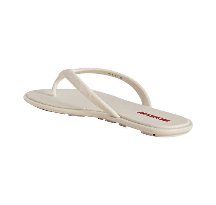 Prada Sport White Crosshatch Rubber Flip Flops With Carry -4178