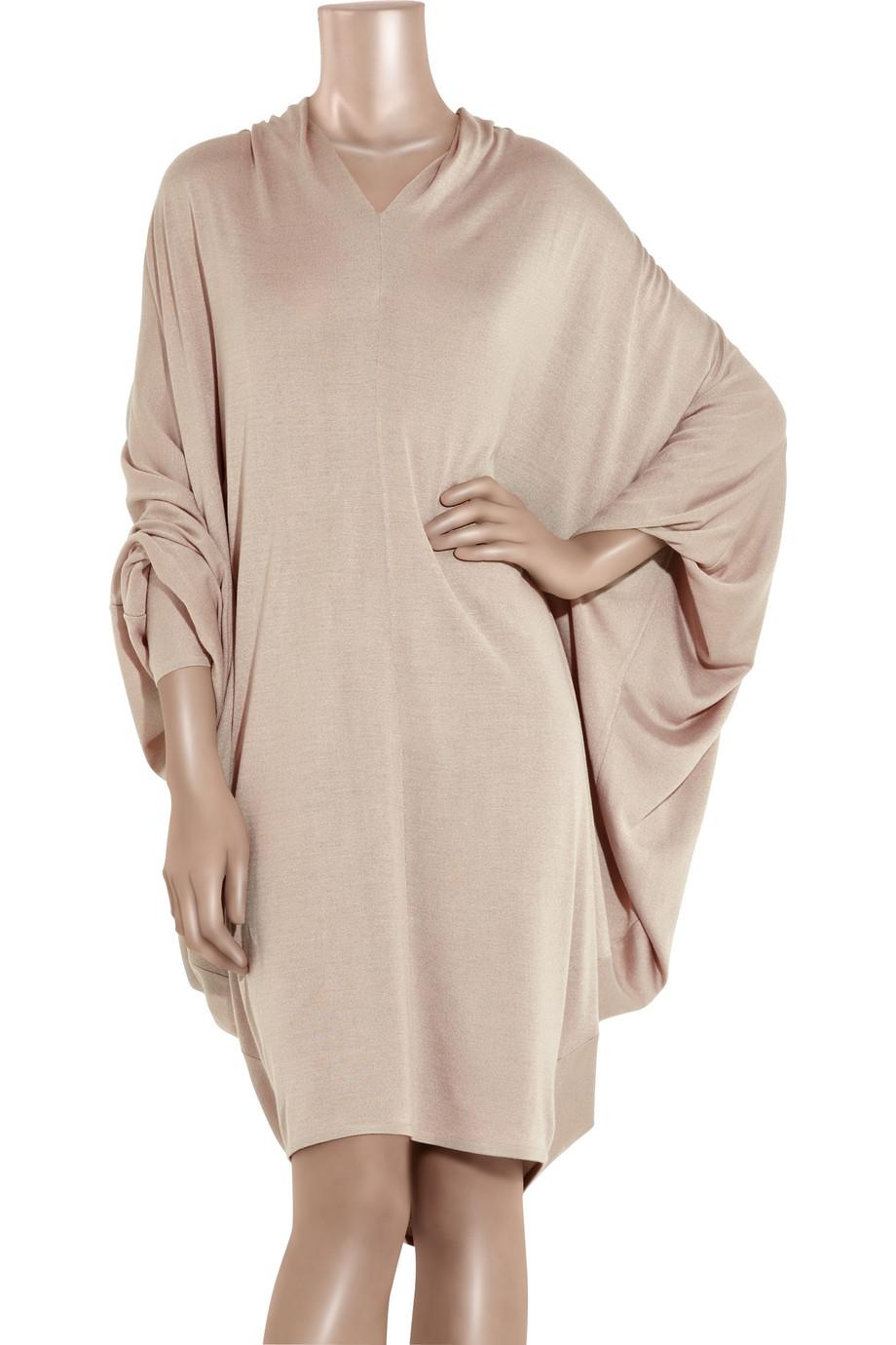 9838d211621 Alexander McQueen Batwing Fine-knit Sweater Dress in Pink - Lyst