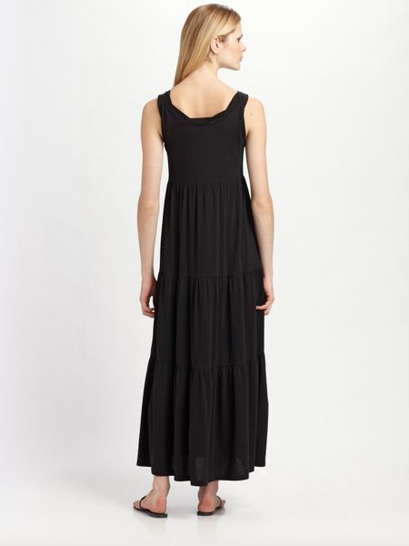 Dkny Sheer Cotton Jersey Tiered Maxi Dress In Black Lyst