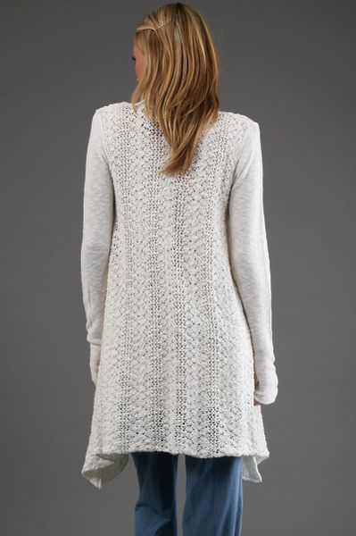 Free People Crochet Cardigan In White In White Lyst