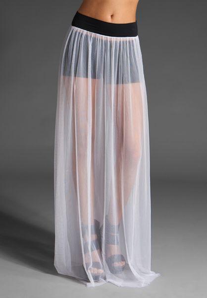 free mesh slip maxi skirt in white lyst