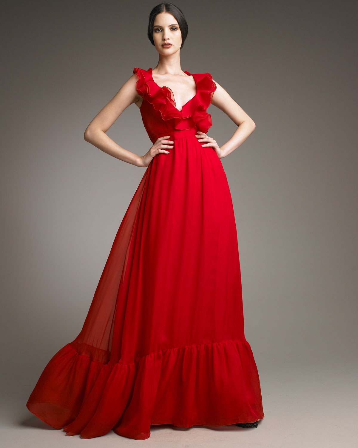 Lyst Valentino Bow Waist Voulant Gown In Red
