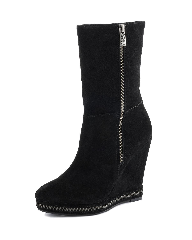 michael kors kors cora suede boot black in black lyst