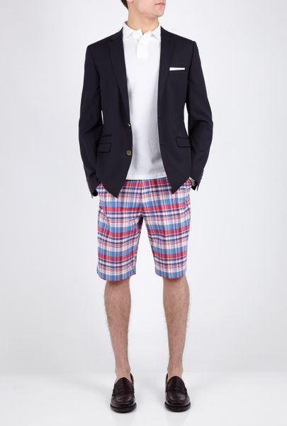 Apc Madras Red Plaid Madras Bermuda Shorts In Red For Men
