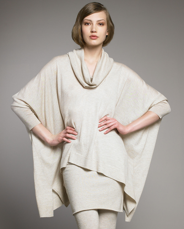 donna karan cashmere cowl neck poncho in natural lyst. Black Bedroom Furniture Sets. Home Design Ideas