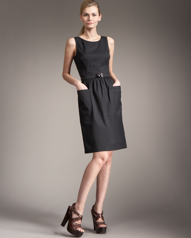 Lyst Prada Logo Belt Shift Dress Black In Black