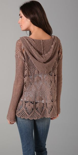Free Crochet Pattern Hooded Sweater : Free People Pacifica Crochet Hooded Sweater in Brown ...