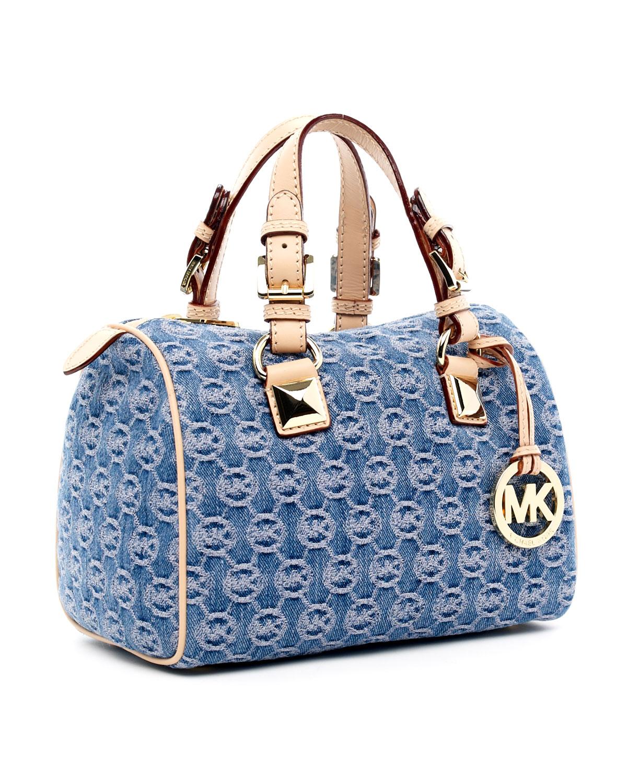 36defdccbfbb Michael Kors Michael Jet Set Grayson Bag Monogrammed Denim in Blue ...