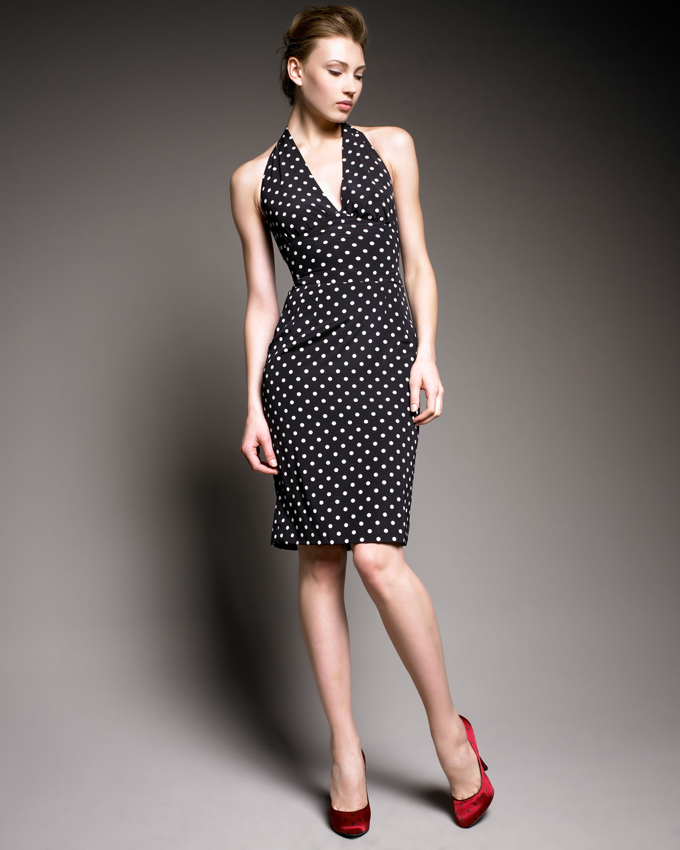 Dolce Amp Gabbana Polka Dot Halter Dress In Black Lyst