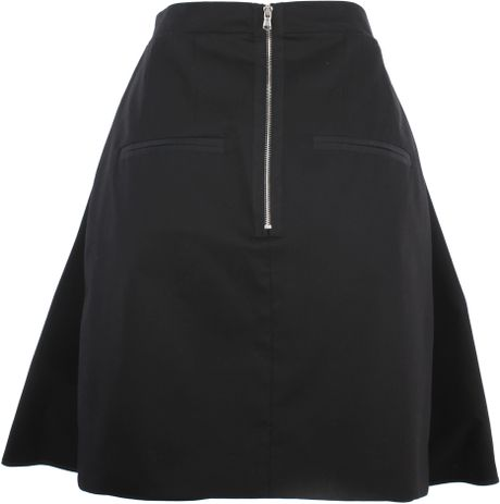 carven cotton pleated high waisted skirt in lyst
