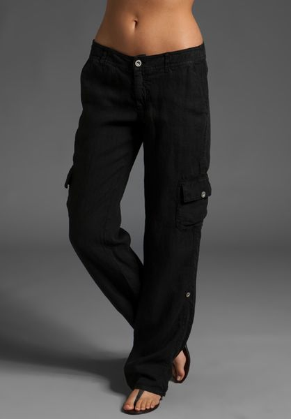 Michael Stars Linen Slouchy Cropped Cargo Pant In Black Lyst