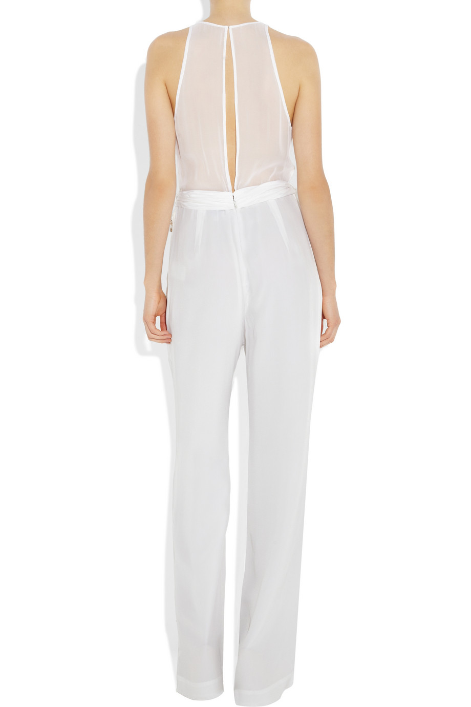 3 1 phillip lim silk crepe jumpsuit in white lyst for Hochzeit jumpsuit