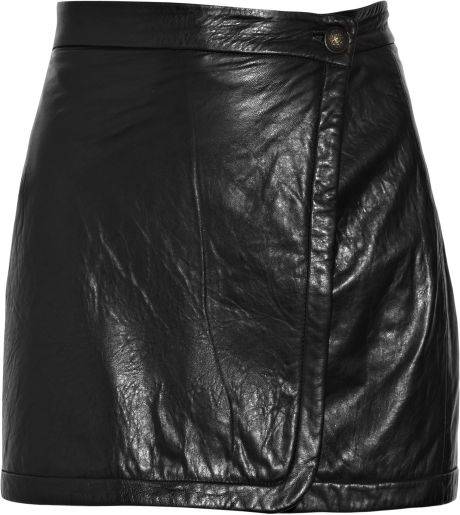 a l c wrap front leather mini skirt in black lyst