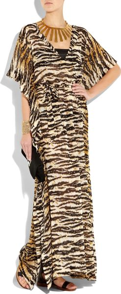 D Amp G Tiger Print Silk Chiffon Maxi Dress In Animal Tiger