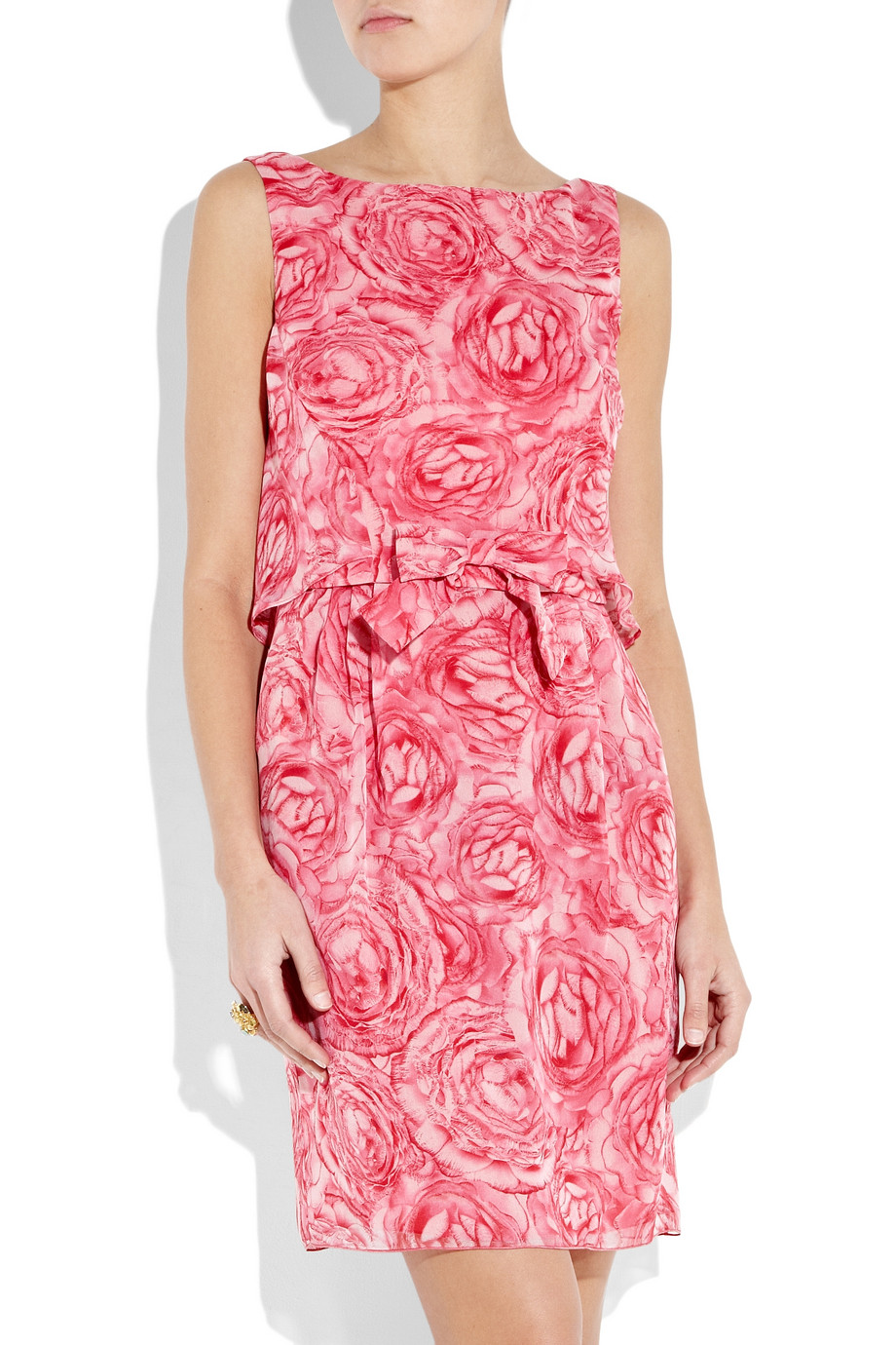 Giambattista Valli Floral Print Silk Chiffon Dress In Pink