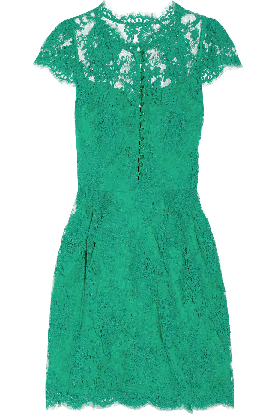 Issa Cap-sleeve Lace Dress in Green | Lyst